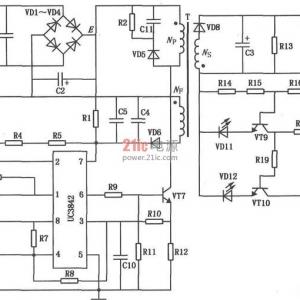 电动车充电器电路图  该电动车充电电路采用uc3842